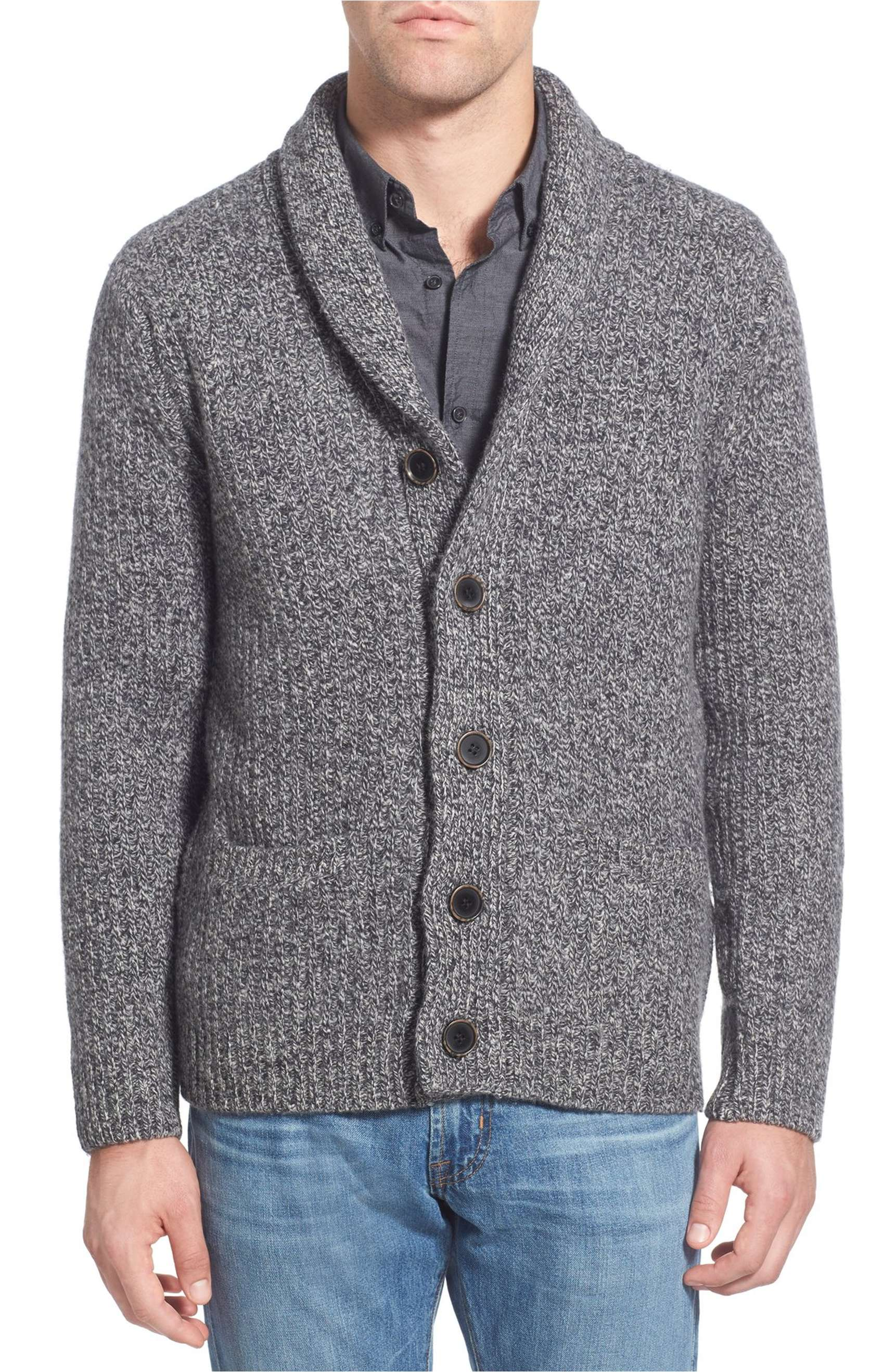 a0d812614239 Schott NYC Shawl Collar Wool-Blend Cardigan in Heather Grey – Buy It Here  For  125. New Mens Sweaters ...