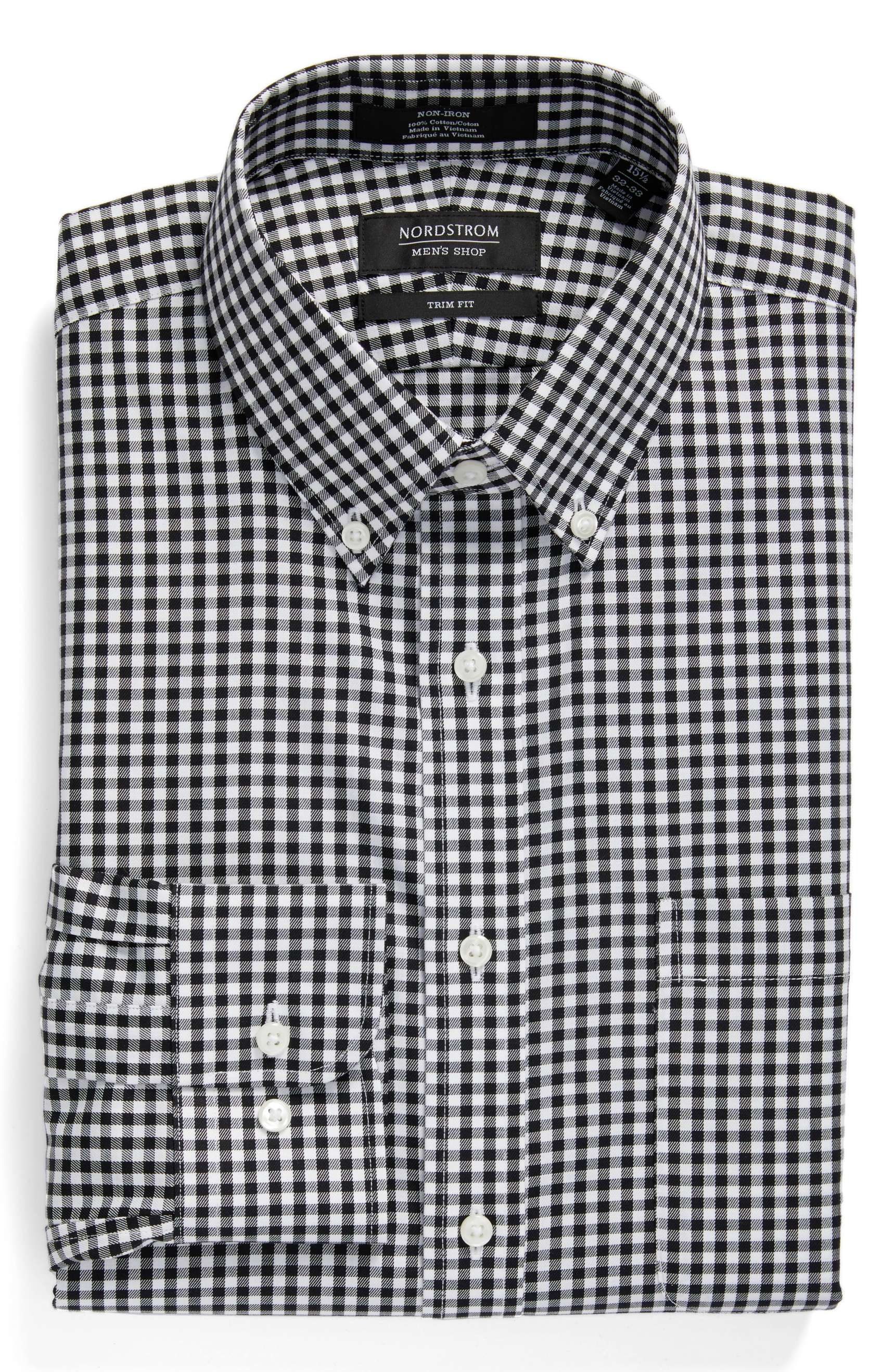 Trim Fit No Iron Black White Gingham Dress Shirt It Here For 50